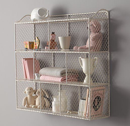 Vintage Wire Cubby Shelf - Large | Wall Storage | Restoration Hardware Baby & Child