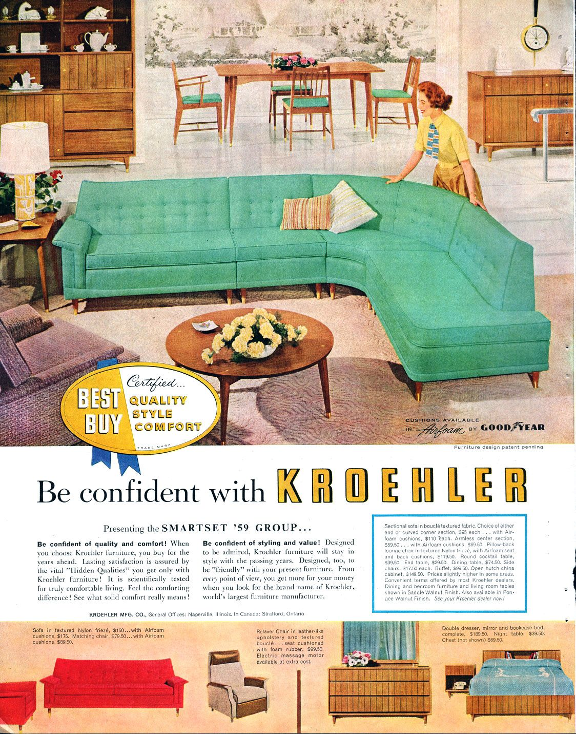 1958 Kroehler Furniture Mid Century Modern Sectional Furniture