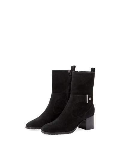 90bb2760d163 Aquatalia Collette Suede Block-Heel Booties with Strap Detail ...