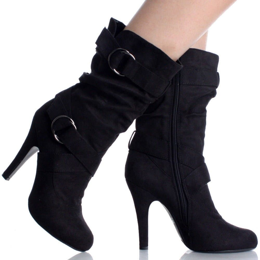 Womens Black Heeled Ankle Boots - Yu Boots