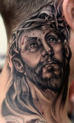 Jesus Neck Tattoo With Images Jesus Tattoo