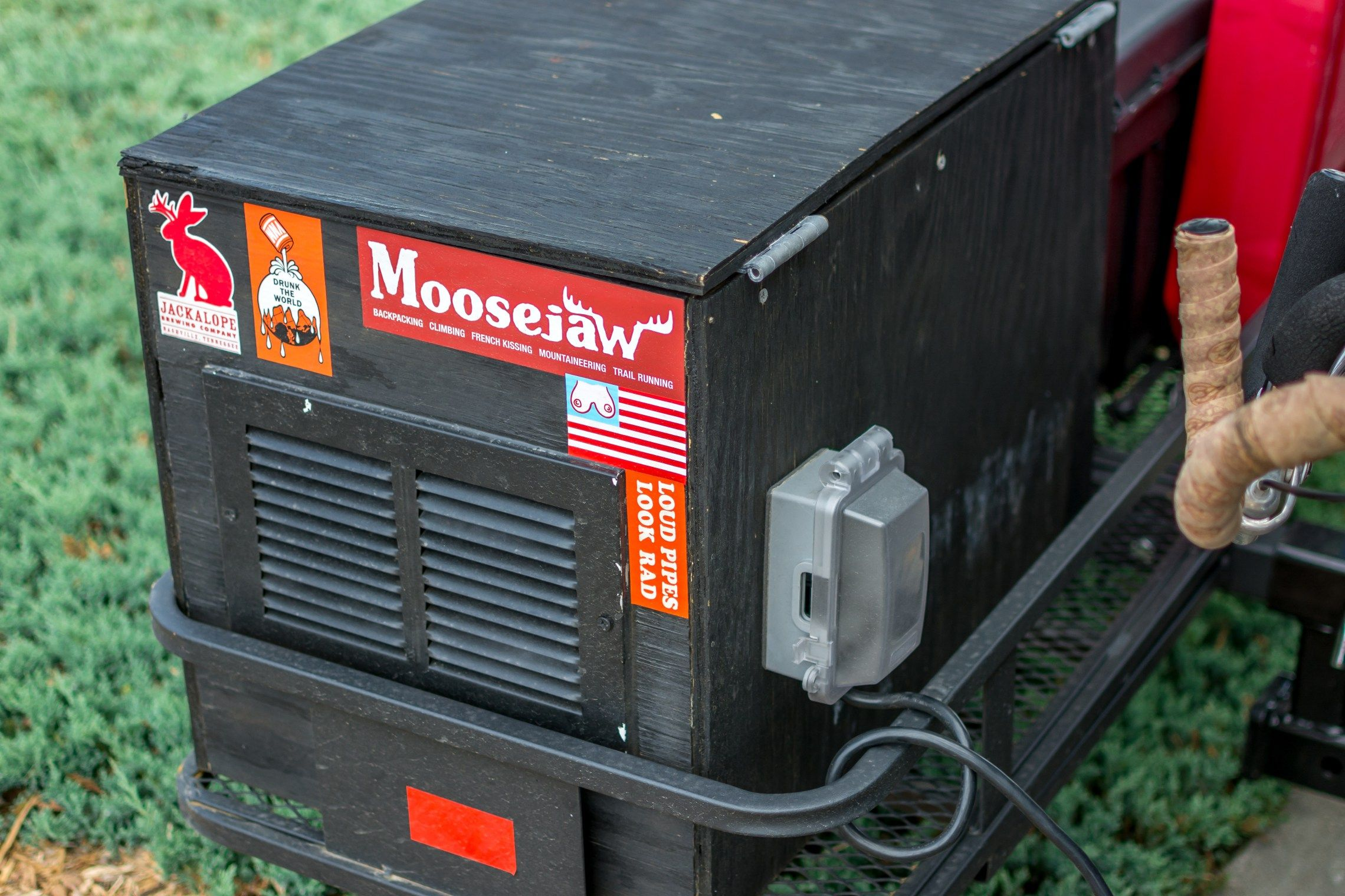 DIY vented plywood generator box with rear mounted