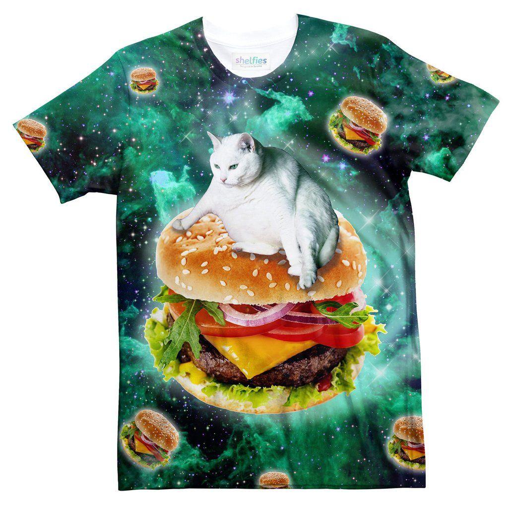 Hamburger Cat T Shirt Galaxy T Shirt Cat Tshirt Mens Tshirts