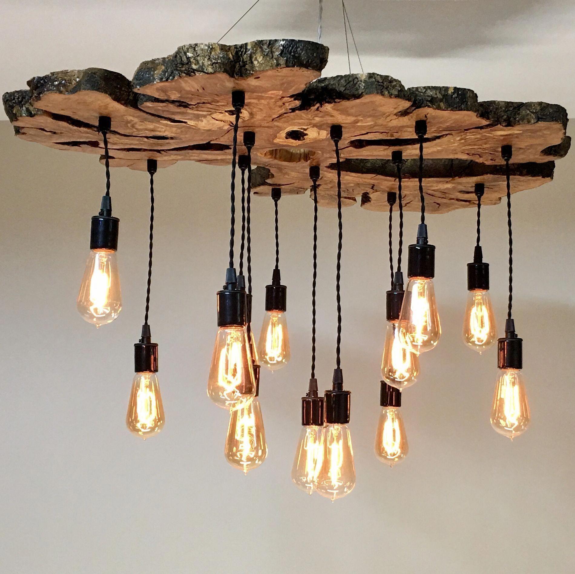 Large Live Edge Olive Wood Slab Chandelier Light Fixture Modern