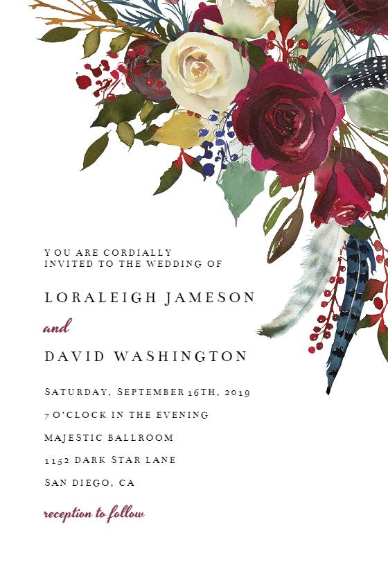 Boho Bordo Flowers Wedding Invitation