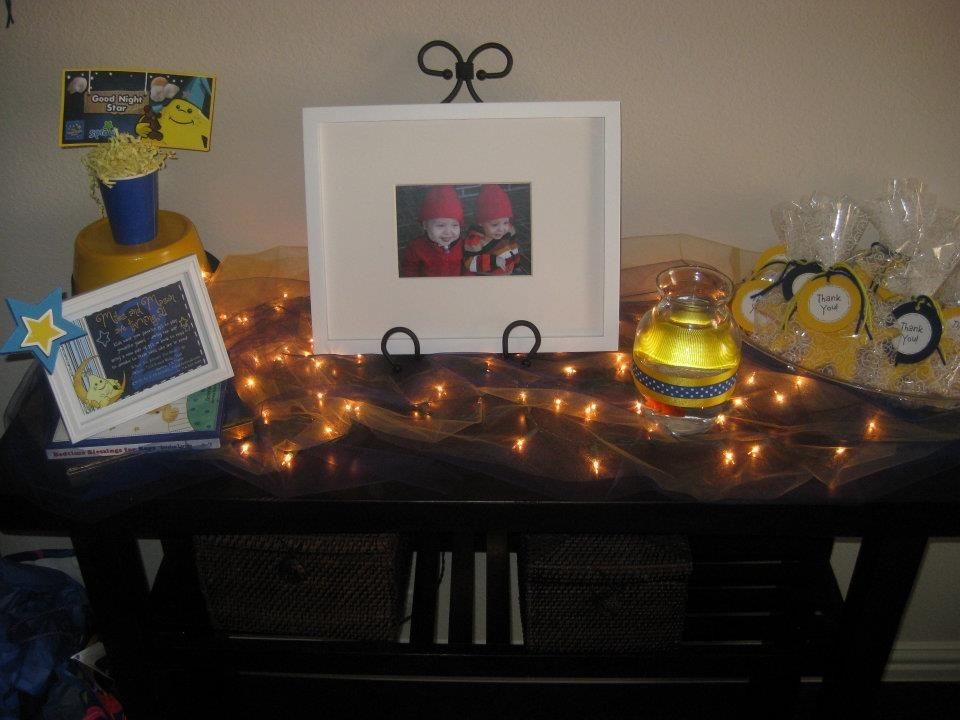 Decorated Entry with Twinkle lights,Framed Invite, Hush the fish, Party Favors and Picture frame keepsake
