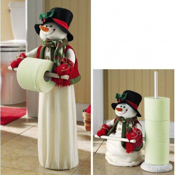 New X Mas 24 Snowman Toilet Paper Holder Bathroom