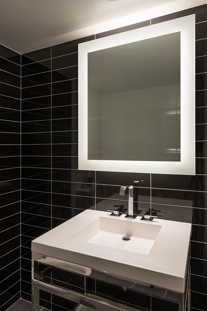 Bathroom Mirrors Lights Behind the surface mounted sail mirror led features 2700k very warm white
