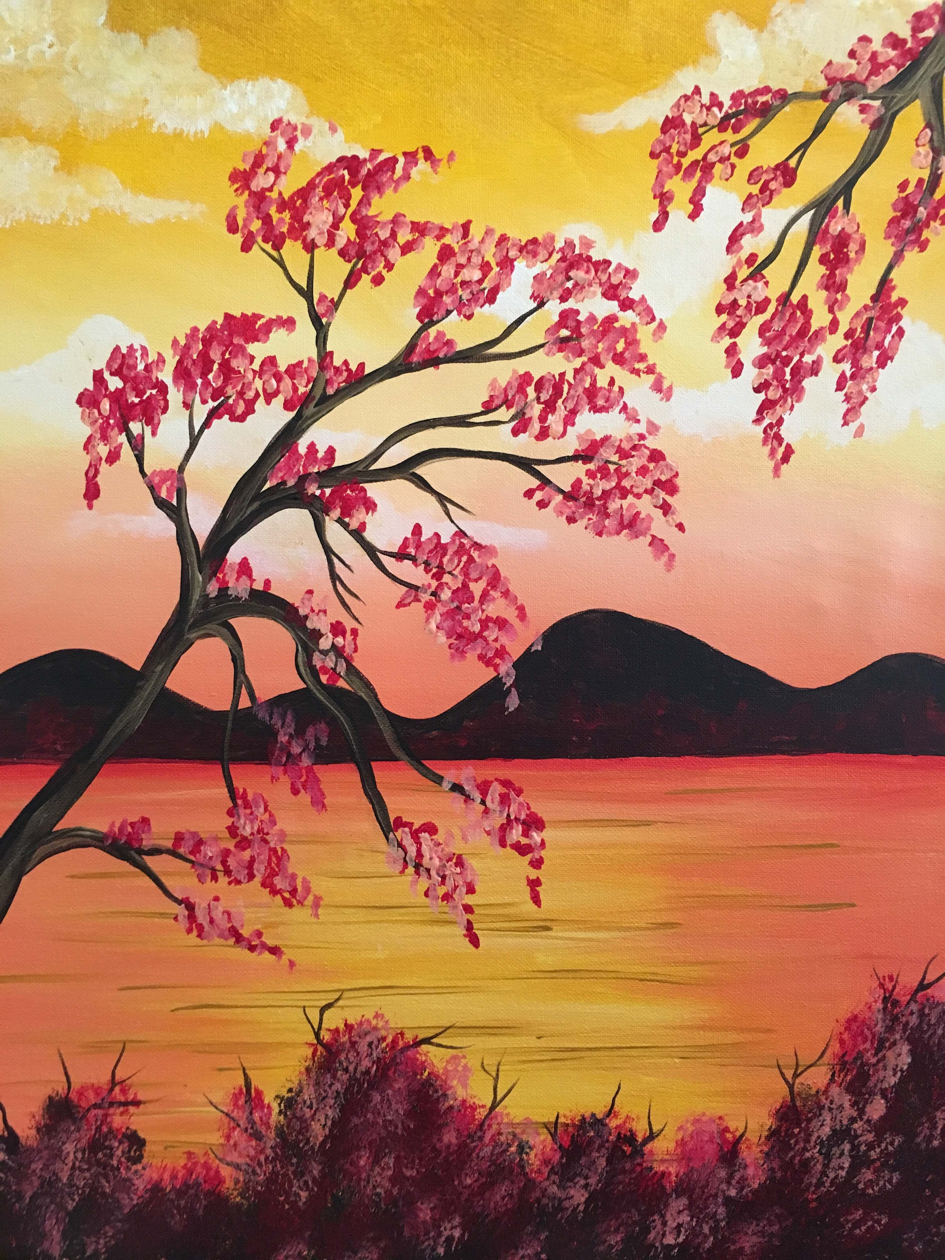 Reflections Of Gold Is A Peaceful Painting And The Cherry Blossoms Are So Fun To Paint Fin Wine Painting Pinots Palette Paintings Landscape Paintings Acrylic