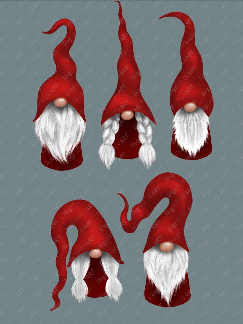 Scandinavian Gnome Clipart Christmas Gnomes Clipart Nordic Etsy Christmas Paintings Christmas Gnome Nordic Gnomes