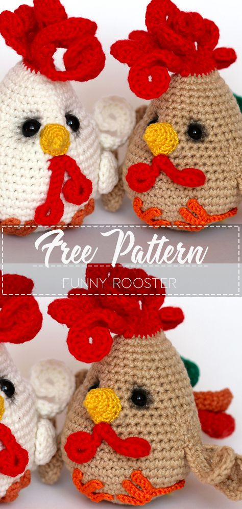 Funny Rooster – Pattern Free  #eastercrochetpatterns