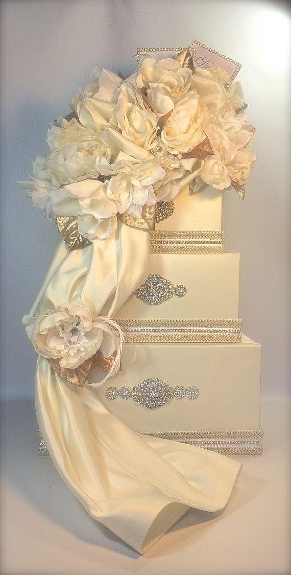 Wedding Money Box Ivory and Gold Wedding Card Box, Secured Lock ...