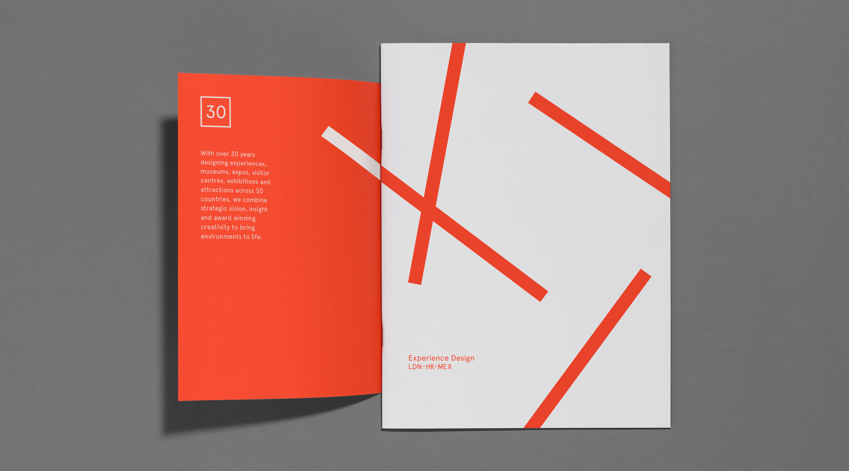 MET – Experience Design / Branding / Identity / Design / Logo / Experiential / Square / Lines / Bright / Colour Palette / Orange / London / Hong Kong / Mexico City / Book / Sleeve / 30 Years