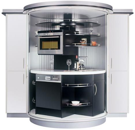 Rotating compact-kitchen-for-small-spaces, would work great for a ...