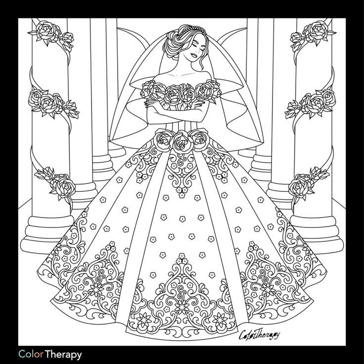 Wedding Dress Coloring Page Adults Coloring Coloring Pages