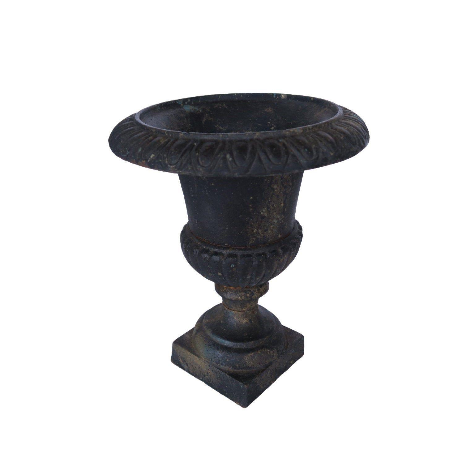 Vintage Small Black Cast Iron Urn Planter Pot Iron Planters Stoneware Crocks Urn Planters