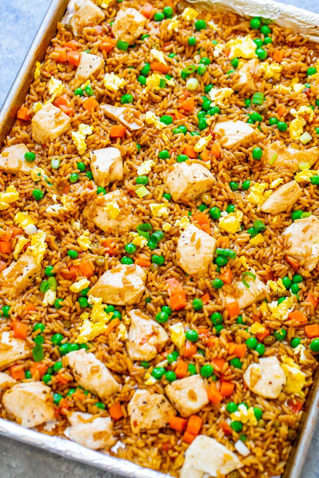 15-Minute Sheet Pan Chicken Fried Rice