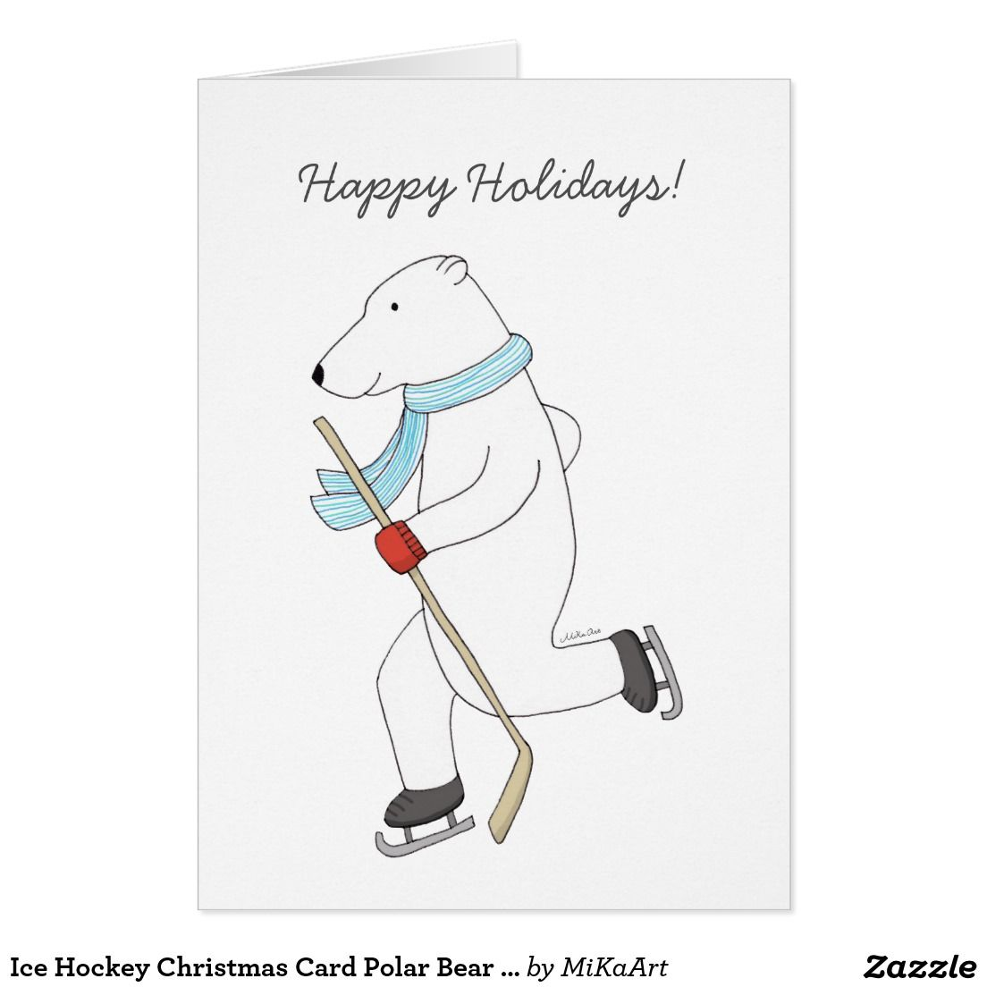Ice Hockey Christmas Card Polar Bear Hockey Card   Hockey cards ...
