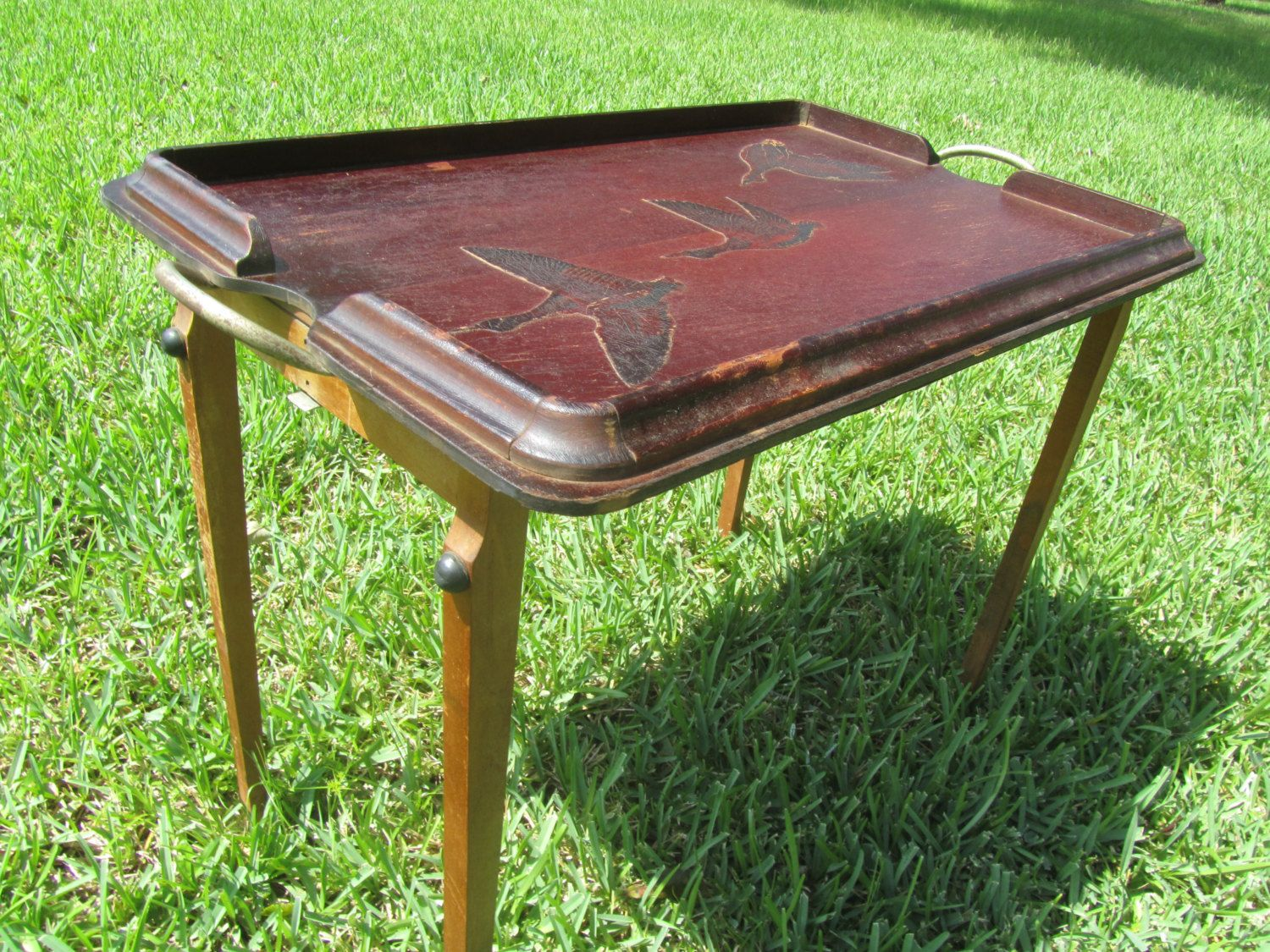 BUTLER TRAY,vintage Tray,Solid Wood Tray Table,folding Table,mid Century