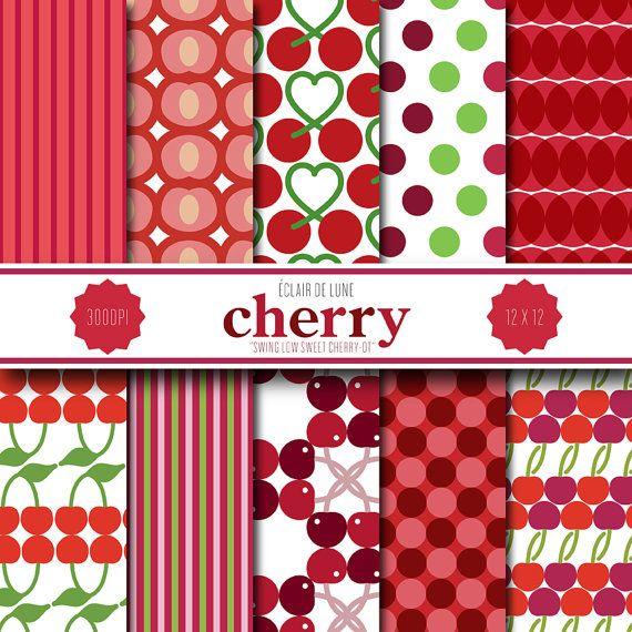 Cherry Digital Scrapbook Paper Red Dots Stripes