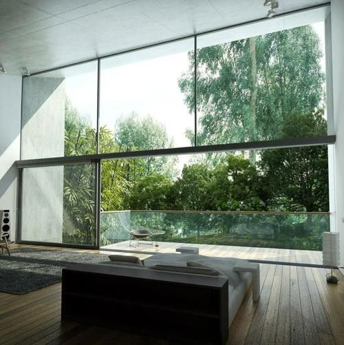 Living Room With Glass Open Space Large Window Forest View