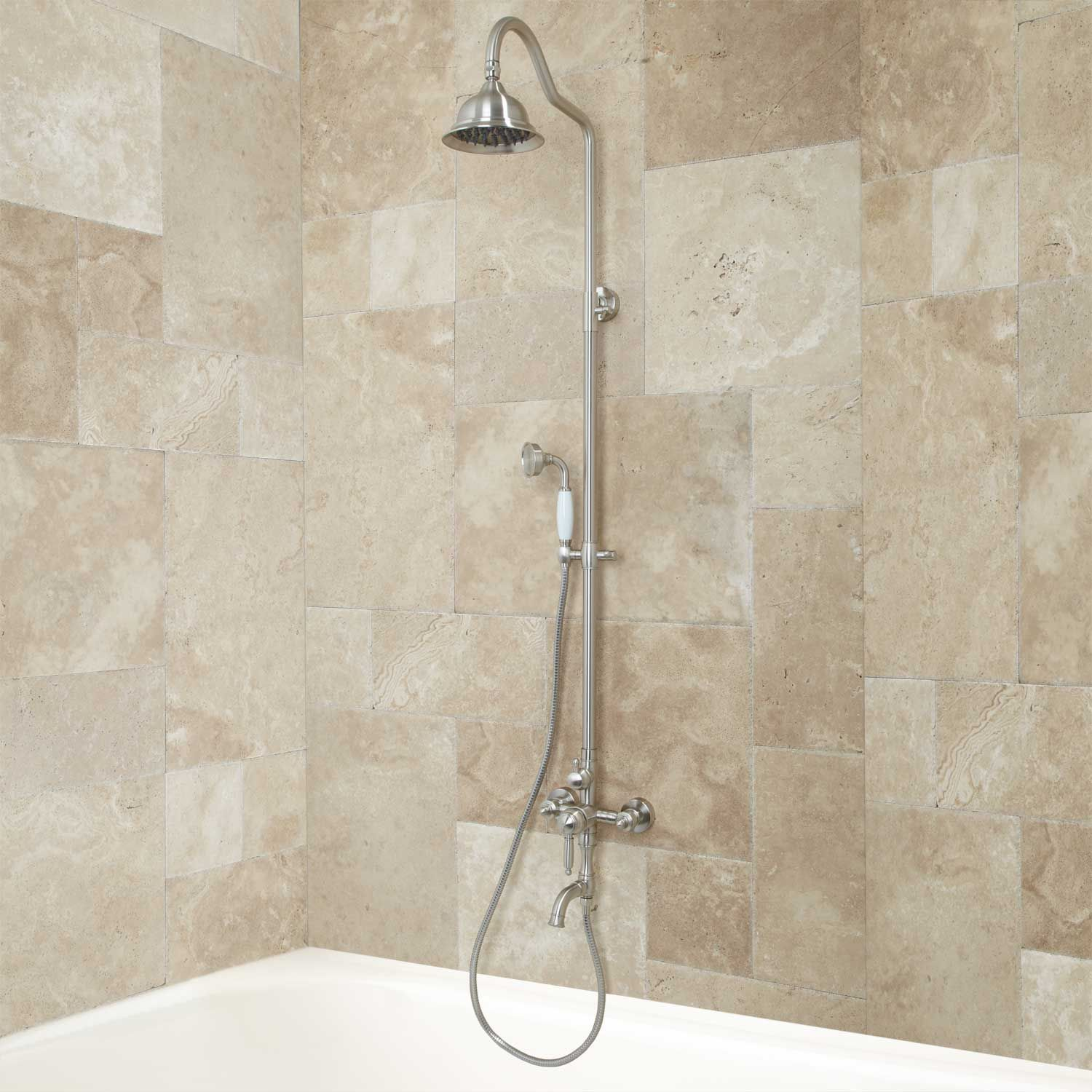 Keswick Exposed Wall Mount Shower And Tub Brushed Nickel Tub And Shower Faucets Tub Faucet Shower Tub