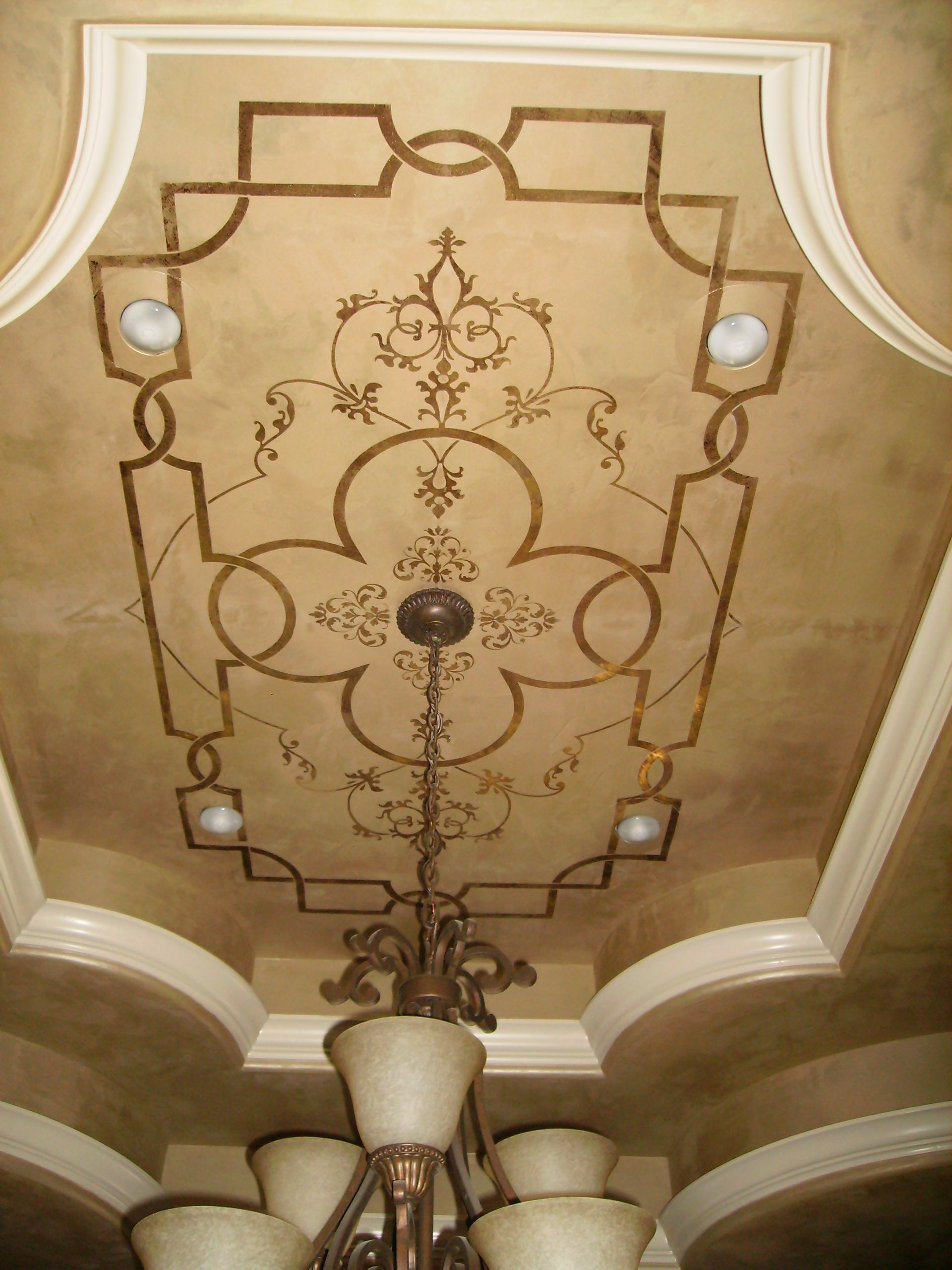 giovannetti decorative studio - metallic plaster ceiling with gold