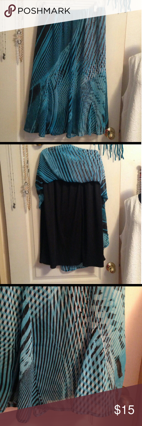 "AVENUE Black & Turquoise Sheer Skirt AVENUE Black & Turquoise Sheer Skirt 29"" long Size 22/24 Avenue Skirts Midi"
