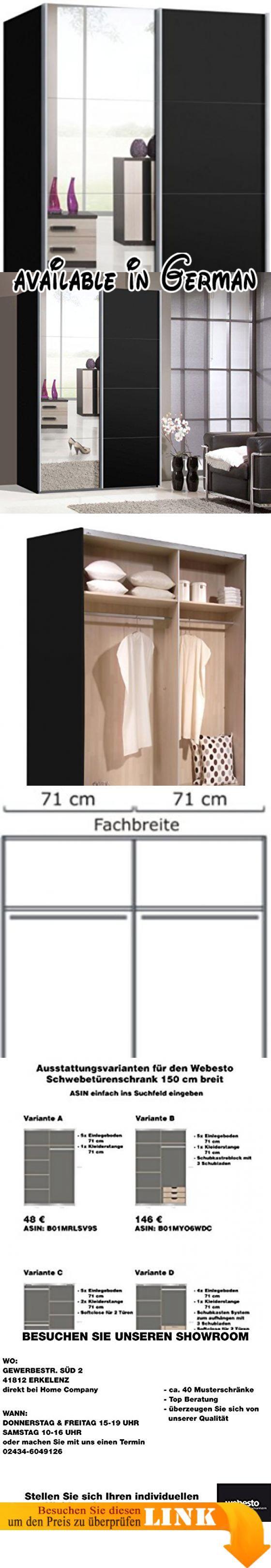 B00EZ21AT4 : Schwebetürenschrank Schiebetürenschrank Ca. 150 Cm Breit  Schwarz Matt Mit Spiegel Kleiderschrank. #