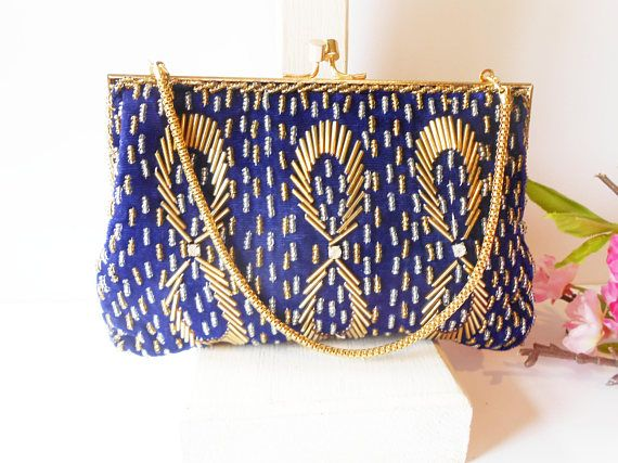 electric blue Vintage beaded bag for ceremony