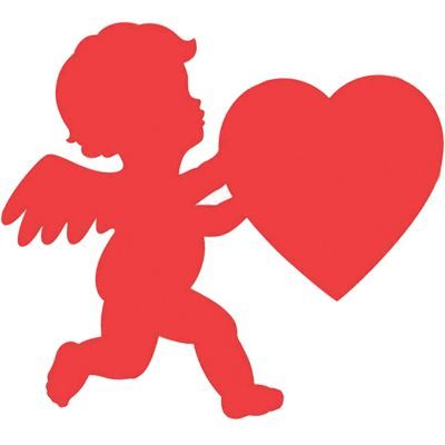 A Cupid Cutout makes any space romantic! This cardstock cutout is shaped like the silhouette of Cupid holding a large heart
