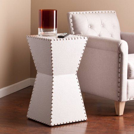 Southern Enterprises Dylan Faux Leather Accent Table White In