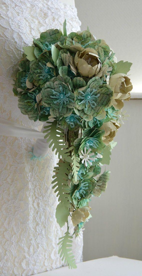 Paper flower bridal cascade bouquet paper wedding bouquet flower ...