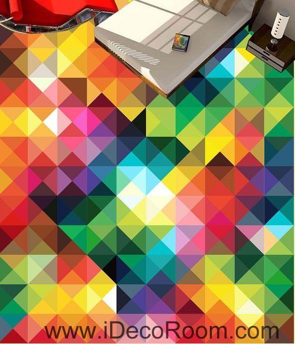 Geometric Rainbow Color Trangle 00078 Floor Decals 3D Wallpaper