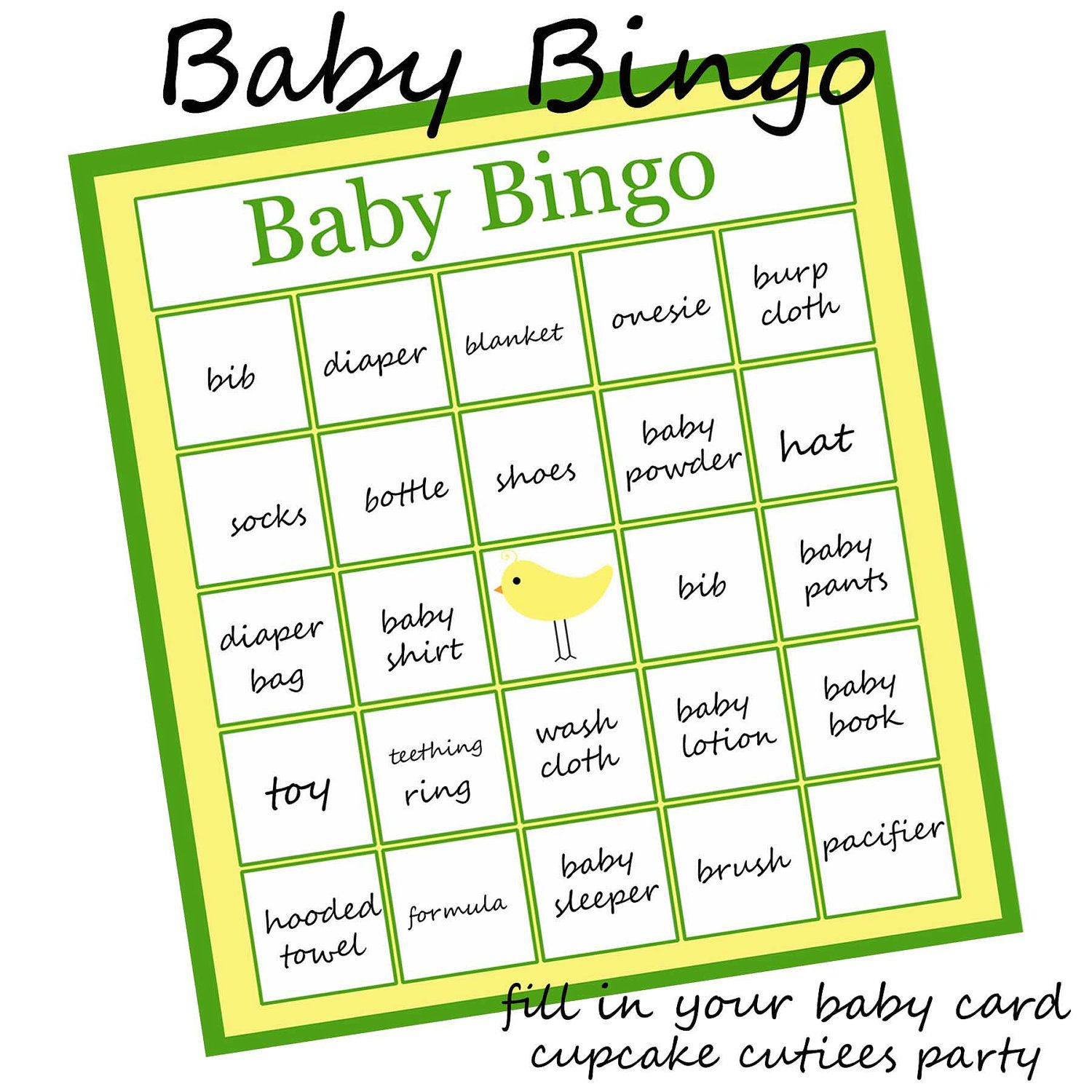 Baby Bingo Party Game For Baby Shower Printable U Print 3 50 Via Etsy