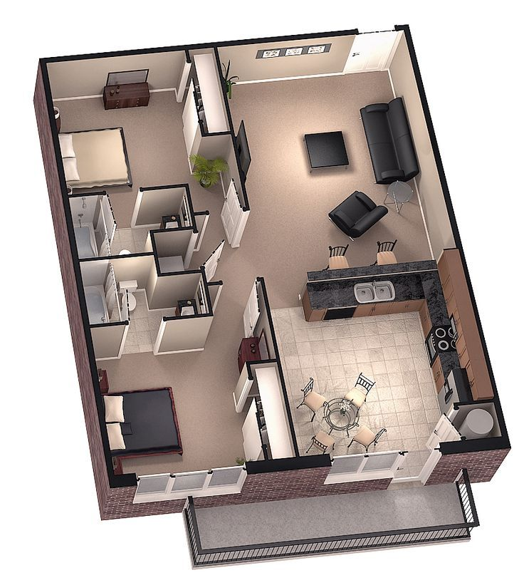Small House Map Design Part - 46: Resultado De Imagen Para 48 M2 3D Floor Plan · House Plans DesignModern ...