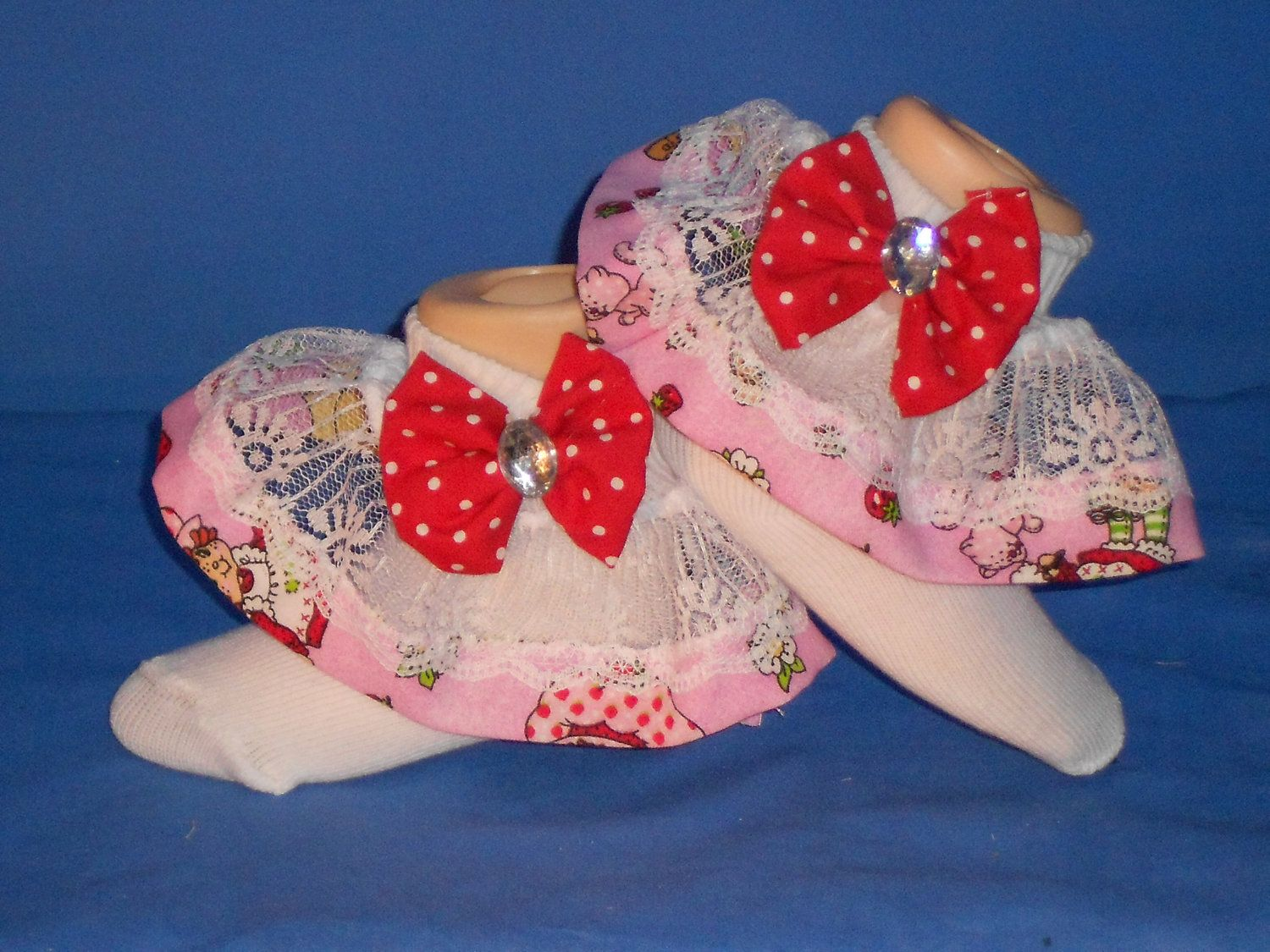 Boutique Custom Made OOAK Fancy Feet Red with White dot Lace Ruffle Socks