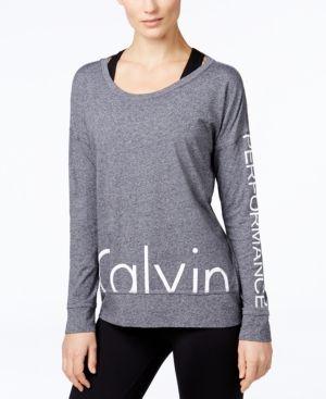 ac6dc4e40fa195 Calvin Klein Performance Logo Long-Sleeve Top - Black XXL | Products ...