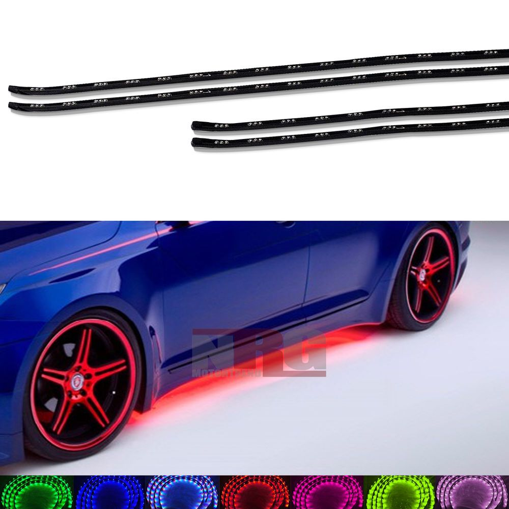 "Automotive Led Light Strips Adorable Under Body Car Neon Glow 7 Color Led Light Strip Kit 36"" 24"" Car Lu Design Ideas"
