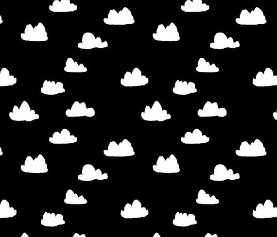 Little Woolf Fitted Crib Sheet in Black Clouds by littlewoolf