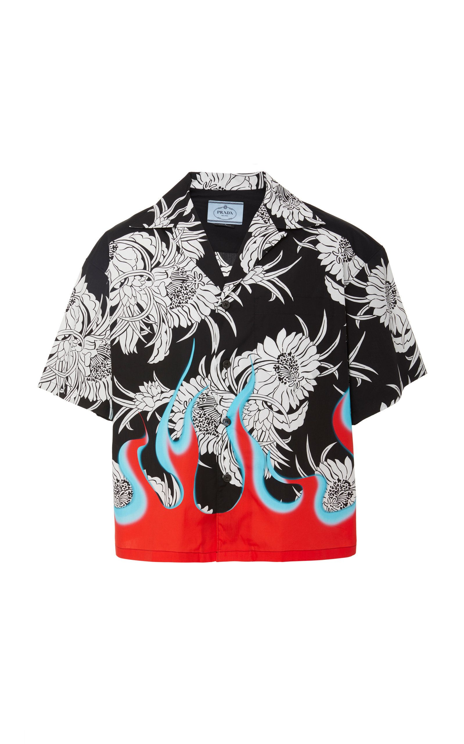 d6986a1cb ... the label's archival chrysanthemum and flame motifs, Prada's  cotton-poplin shirt is cut with a structured, boxy fit. Wear yours with  tailored shorts ...