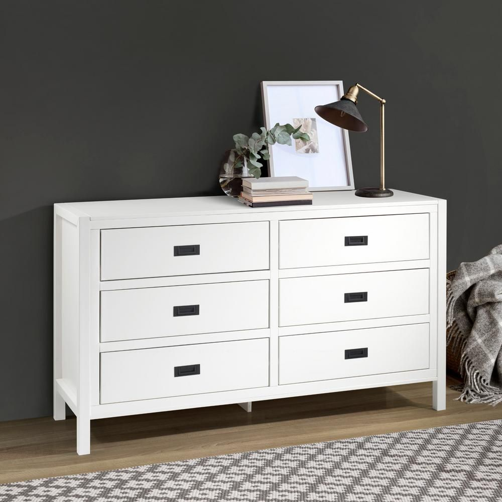 Welwick Designs 57 Classic Solid Wood 6 Drawer Dresser White Hd8419 The Home Depot In 2021 6 Drawer Dresser Dresser Drawers Double Dresser [ 1000 x 1000 Pixel ]