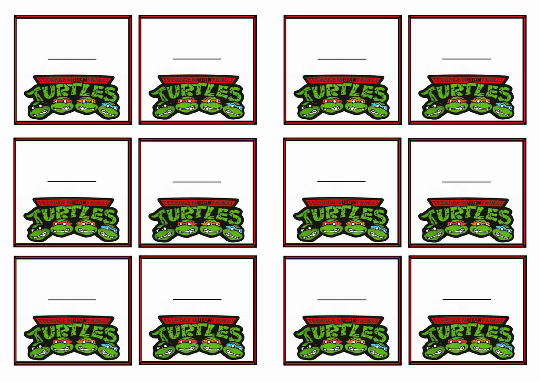 Teenage Mutant Ninja Turtles Name Tags Themed