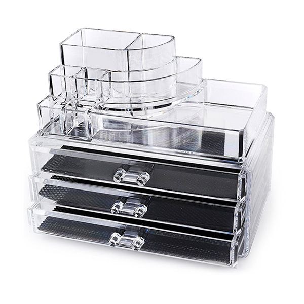 Multifunction Acrylic 3Drawer Spiral Style Makeup Cosmetics Jewelry