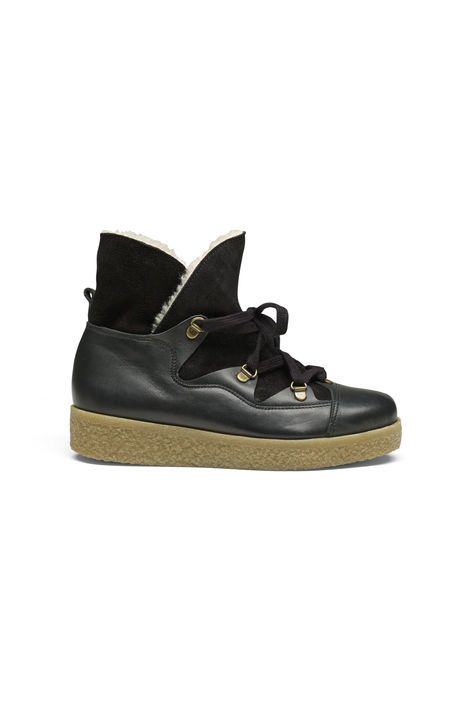 Ankle boots cut from leather with contrast panels, lace-up front and  platform sole. By Ganni Rubber sole Lace-up front Leather panels Sole  height (.