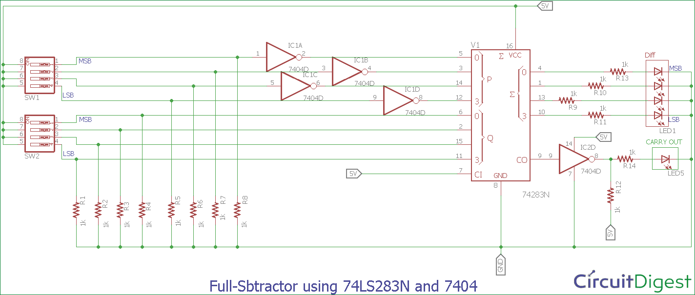 Full Subtractor Circuit Diagram Using 74ls283n And 7404 Electronic Summing Amplifier Inverting Adder Op Amp 741 Pictures