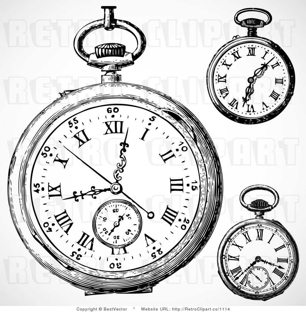 Pocket Watch Drawings: Vintage Pocket Watch Clip Art