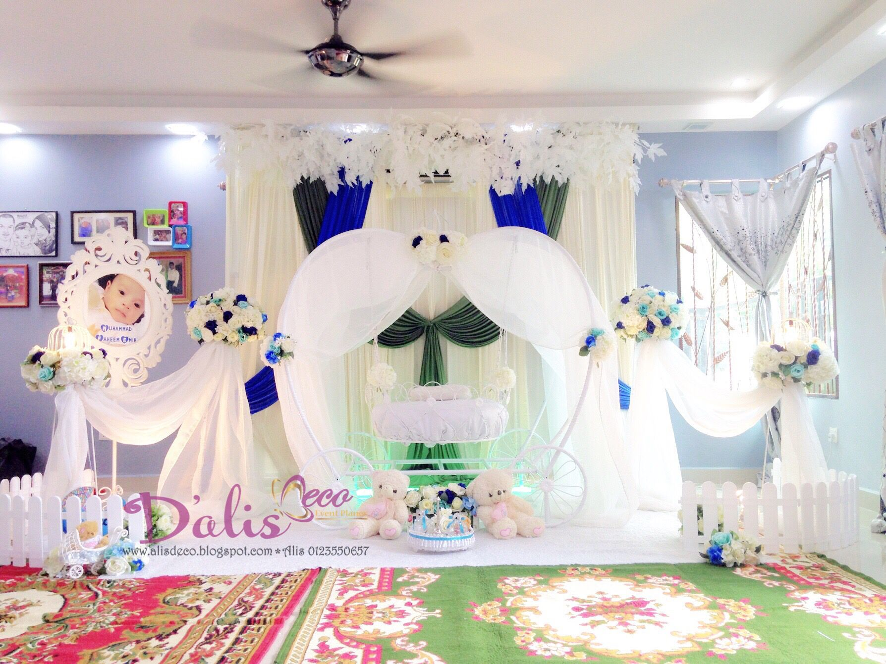 Pelamin cinderella cradle for majlis buaian berendoi for Baby name decoration ideas