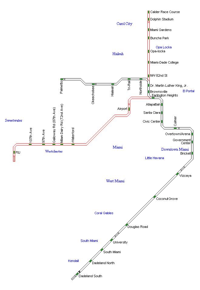 metrorail: miami metro map, united states   miami city
