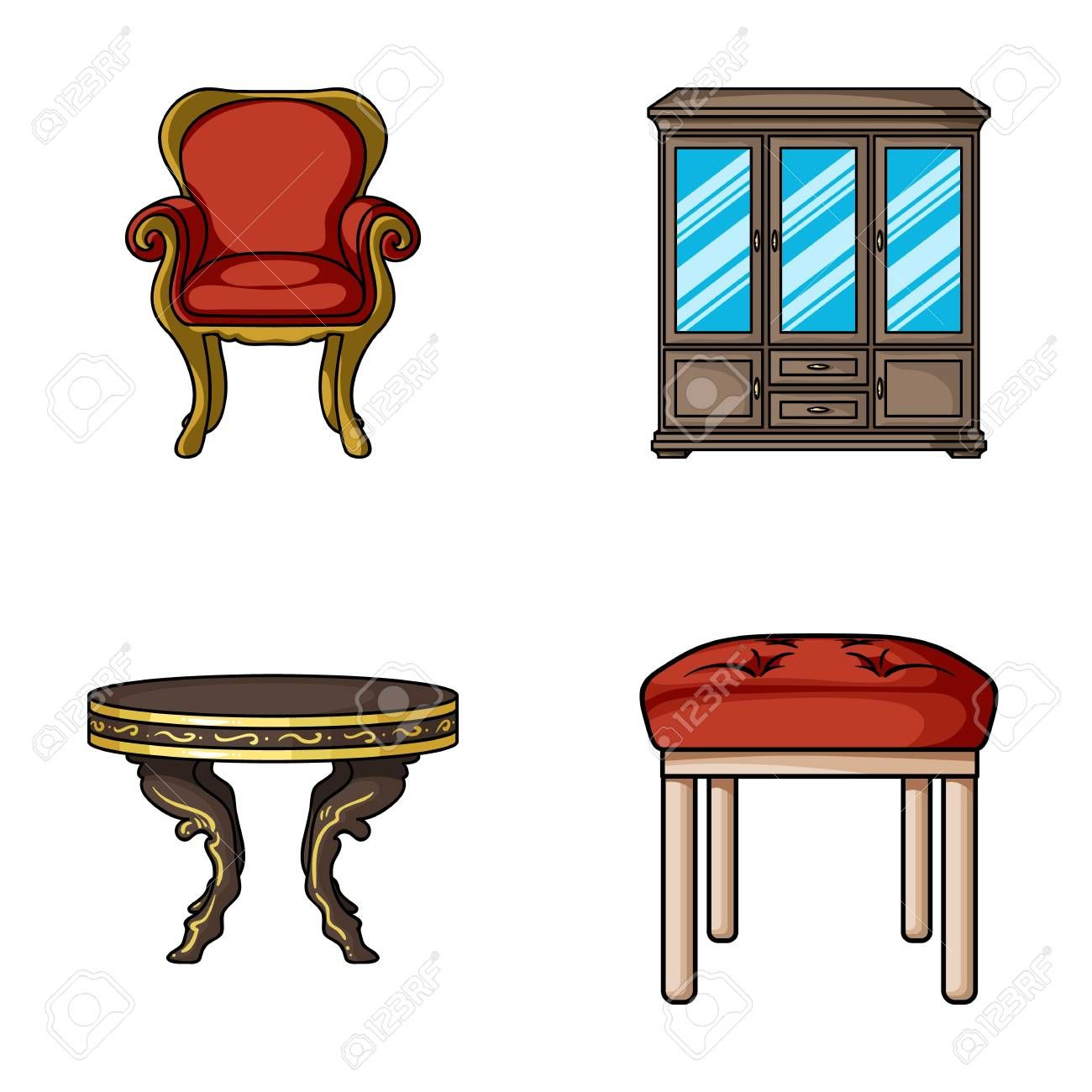 Furniture Interior Design Chair Furniture And Home Interior Set Collection Icons In Cartoon Style Vector Symbol Cartoon Styles House Interior Design Trends